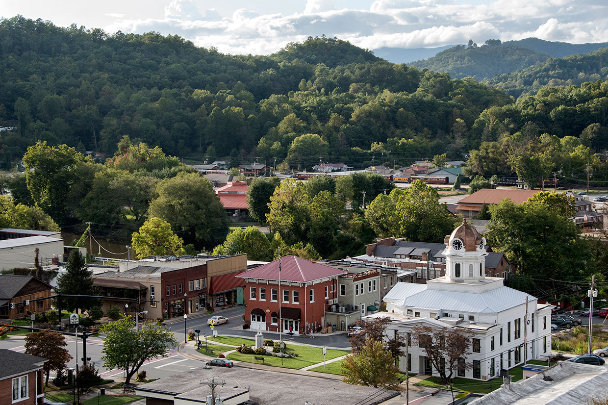 aerial view of downtown Bryson City