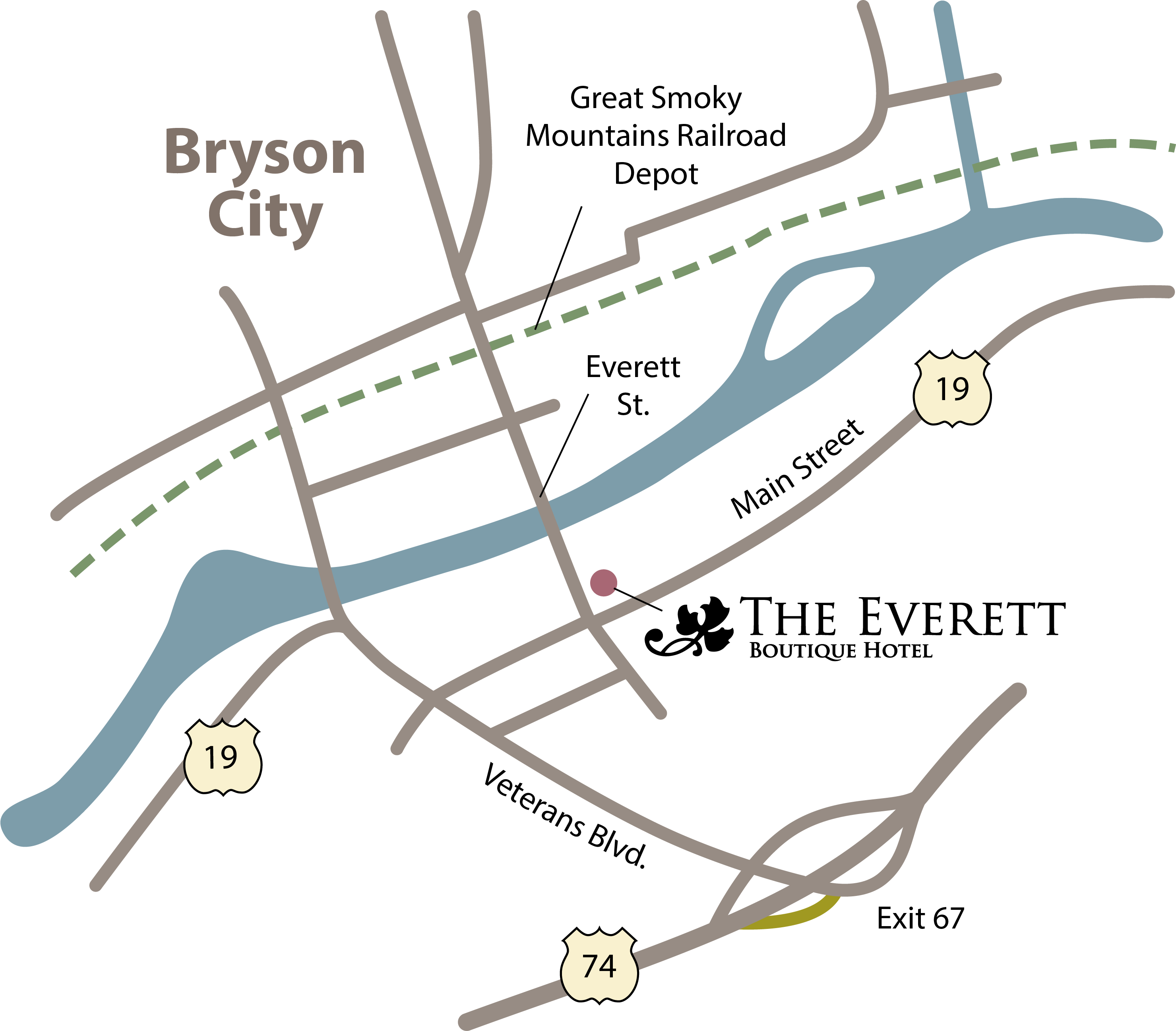 Bryson City map with Everett Hotel location