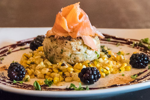 crab cake with corn and salmon